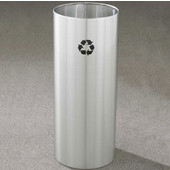 Glaro RecyclePro Open Top Receptacle, 14 Gallon, Available in Multiple Colors, 12''W x 29''H, Open Top, No Message, Only Recycling Logo, Satin Brass Finish, Shown in Satin Aluminum