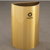 Glaro Open Top Half Round Recycling Receptacle, 10 Gallon, Available in Multiple Colors, 18''W x 30''H, 18''x9'' opening size, Bottles message w/ Recycling Logo, Satin Brass Finish