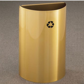Glaro Open Top Half Round Recycling Receptacle, 10 Gallon, Available in Multiple Colors, 18''W x 30''H, 18''x9'' opening size, No Message, Only Recycling Logo, Satin Brass Finish