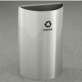 Glaro Open Top Half Round Recycling Receptacle, 10 Gallon, Available in Multiple Colors, 18''W x 30''H, 18''x9'' opening size, Bottles message w/ Recycling Logo, Satin Aluminum Finish