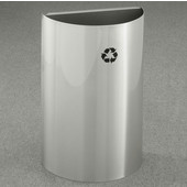 Glaro Open Top Half Round Recycling Receptacle, 10 Gallon, Available in Multiple Colors, 18''W x 30''H, 18''x9'' opening size, No Message, Only Recycling Logo, Satin Aluminum Finish