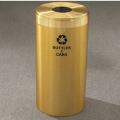 Glaro RecyclePro Value Series Receptacle, 23 Gallon, Available in Multiple Colors, 15''W, 5.5''Dia. hole, Glass message w/ Recycling Logo, Satin Aluminum Finish, Satin Aluminum Top, Shown in Satin Brass