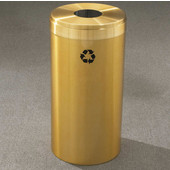 Glaro RecyclePro Value Series Receptacle, 15 Gallon, Available in Multiple Colors, 12''W, 5.5''Dia. hole, No Message, Only Recycling Logo, Satin Brass Finish, Satin Brass Top