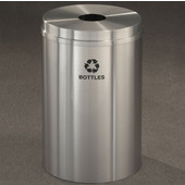Glaro RecyclePro I Receptacle, 12 Gallon, Available in Multiple Colors, 12''W, 5.5''Dia. hole, Bottles message w/ Recycling Logo, Satin Brass Finish, Satin Brass Top, Shown in Satin Aluminum