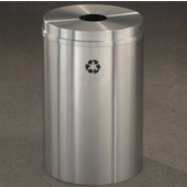 Glaro RecyclePro I Receptacle, 12 Gallon, Available in Multiple Colors, 12''W, 5.5''Dia. hole, No Message, Only Recycling Logo, Satin Brass Finish, Satin Brass Top, Shown in Satin Aluminum