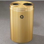 Glaro RecyclePro II Receptacle, 33 Gallon, Available in Multiple Colors, 20''W, 4-7/8''Dia. hole & 7''Dia. hole, No Message, Only Recycling Logo, Satin Brass Finish, Satin Brass Top