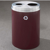 Glaro RecyclePro II Receptacle, 33 Gallon, Available in Multiple Colors, 20''W, 4-7/8''Dia. hole & 7''Dia. hole, No Message, Only Recycling Logo, Burgundy Finish, Matching Top, Shown with Satin Aluminum Top with Message