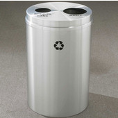 Glaro RecyclePro II Receptacle, 33 Gallon, Available in Multiple Colors, 20''W, 4-7/8''Dia. hole & 7''Dia. hole, No Message, Only Recycling Logo, Satin Aluminum Finish, Satin Aluminum Top