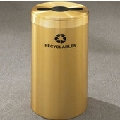 Glaro RecyclePro Value Series Receptacle, 15 Gallon, Available in Multiple Colors, 12''W, 2.5''x9.5'' slot w/ 5.5' dia. center hole, Bottles - Cans - Paper messages w/ Recycling Logo, Satin Brass Finish, Satin Brass Top