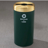 Glaro RecyclePro Value Series Receptacle, 23 Gallon, Available in Multiple Colors, 15''W, 2''x12'' slot w/ a 5.5' dia. center hole, Recyclables message w/ Recycling Logo, Hunter Green Finish, Satin Aluminum Top, Shown in Hunter Green