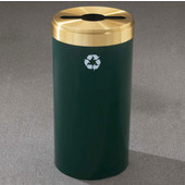 Glaro RecyclePro Value Series Receptacle, 23 Gallon, Available in Multiple Colors, 15''W, 2''x12'' slot w/ a 5.5' dia. center hole, No Message, Only Recycling Logo, Hunter Green Finish, Satin Brass Top, Shown in Hunter Green
