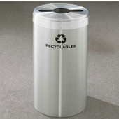 Glaro RecyclePro Value Series Receptacle, 15 Gallon, Available in Multiple Colors, 12''W, 2.5''x9.5'' slot w/ 5.5' dia. center hole, Bottles - Cans - Paper messages w/ Recycling Logo, Satin Aluminum Finish, Satin Aluminum Top