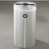 Glaro RecyclePro Value Series Receptacle, 15 Gallon, Available in Multiple Colors, 12''W, 2.5''x9.5'' slot w/ 5.5' dia. center hole, No Message, Only Recycling Logo, Satin Aluminum Finish, Satin Aluminum Top