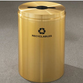 Glaro RecyclePro I Receptacle, 12 Gallon, Available in Multiple Colors, 12''W, 2.5''x9.5'' slot w/ 5.5' dia. center hole, Bottles - Cans - Paper messages w/ Recycling Logo, Satin Brass Finish, Satin Brass Top