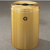 Glaro RecyclePro I Receptacle, 33 Gallon, Available in Multiple Colors, 20''W, 2''x12'' slot w/ a 5.5' dia. center hole, No Message, Only Recycling Logo, Satin Brass Finish, Satin Brass Top