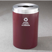 Glaro RecyclePro I Receptacle, 12 Gallon, Available in Multiple Colors, 12''W, 2.5''x9.5'' slot w/ 5.5' dia. center hole, Bottles - Cans - Paper messages w/ Recycling Logo, Burgundy Finish, Satin Brass Top, Shown with Satin Aluminum Top