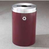 Glaro RecyclePro I Receptacle, 12 Gallon, Available in Multiple Colors, 12''W, 2.5''x9.5'' slot w/ 5.5' dia. center hole, No Message, Only Recycling Logo, Burgundy Finish, Matching Top, Shown with Satin Aluminum Top