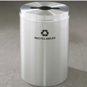Glaro RecyclePro I Receptacle, 12 Gallon, Available in Multiple Colors, 12''W, 2.5''x9.5'' slot w/ 5.5' dia. center hole, Bottles - Cans - Paper messages w/ Recycling Logo, Satin Aluminum Finish, Satin Aluminum Top