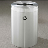 Glaro RecyclePro I Receptacle, 12 Gallon, Available in Multiple Colors, 12''W, 2.5''x9.5'' slot w/ 5.5' dia. center hole, No Message, Only Recycling Logo, Satin Aluminum Finish, Satin Aluminum Top
