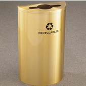 Glaro Single Purpose Half Round Recycling Receptacle, 10 Gallon, Available in Multiple Colors, 18''W, 4-7/8''Dia. hole w/ a 2-1/2''x9-1/2'' slot, Recyclables w/ Recycling Logo, Satin Brass Finish, Satin Brass Top
