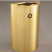 Glaro Single Purpose Half Round Recycling Receptacle, 10 Gallon, Available in Multiple Colors, 18''W, 4-7/8''Dia. hole w/ a 2-1/2''x9-1/2'' slot, No Message, Only Recycling Logo, Satin Brass Finish, Satin Brass Top