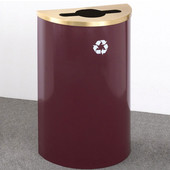 Glaro Single Purpose Half Round Recycling Receptacle, 10 Gallon, Available in Multiple Colors, 18''W, 4-7/8''Dia. hole w/ a 2-1/2''x9-1/2'' slot, No Message, Only Recycling Logo, Burgundy Finish, Satin Brass Top