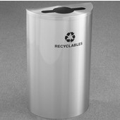 Glaro Single Purpose Half Round Recycling Receptacle, 10 Gallon, Available in Multiple Colors, 18''W, 4-7/8''Dia. hole w/ a 2-1/2''x9-1/2'' slot, Recyclables w/ Recycling Logo, Satin Aluminum Finish, Satin Aluminum Top