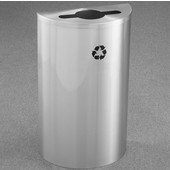 Glaro Single Purpose Half Round Recycling Receptacle, 10 Gallon, Available in Multiple Colors, 18''W, 4-7/8''Dia. hole w/ a 2-1/2''x9-1/2'' slot, No Message, Only Recycling Logo, Satin Aluminum Finish, Satin Aluminum Top