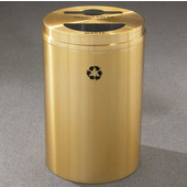 Glaro RecyclePro II Receptacle, 33 Gallon, Available in Multiple Colors, 20''W, 2''x12'' slot with a 5.5''Dia. center hole & a 5.5''x12'' half round hole, No Message, Only Recycling Logo, Satin Brass Finish, Satin Brass Top