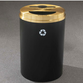 Glaro RecyclePro II Receptacle, 33 Gallon, Available in Multiple Colors, 20''W, 2''x12'' slot with a 5.5''Dia. center hole & a 5.5''x12'' half round hole, No Message, Only Recycling Logo, Satin Black Finish, Matching Top, Shown with Satin Brass Top