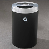 Glaro RecyclePro II Receptacle, 33 Gallon, Available in Multiple Colors, 20''W, 2''x12'' slot with a 5.5''Dia. center hole & a 5.5''x12'' half round hole, No Message, Only Recycling Logo, Satin Black Finish, Satin Aluminum Top