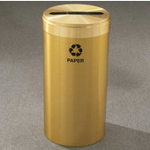 Glaro RecyclePro Value Series Receptacle, 15 Gallon, Available in Multiple Colors, 12''W, 2.5''x9.5'' slot, Newspaper message w/ Recycling Logo, Satin Brass Finish, Satin Brass Top