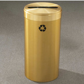 Glaro RecyclePro Value Series Receptacle, 23 Gallon, Available in Multiple Colors, 15''W, 2''x12'' slot, No Message, Only Recycling Logo, Satin Black Finish, Satin Aluminum Top, Shown in Satin Brass