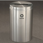 Glaro RecyclePro I, 12 Gallon, Available in Multiple Colors, 12''W, 2.5''x9.5'' slot, Newspaper message w/ Recycling Logo, Satin Brass Finish, Satin Brass Top, Shown in Satin Aluminum