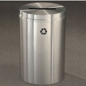 Glaro RecyclePro I, 12 Gallon, Available in Multiple Colors, 12''W, 2.5''x9.5'' slot, No Message, Only Recycling Logo, Satin Brass Finish, Satin Brass Top, Shown in Satin Aluminum