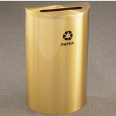 Glaro Single Purpose Half Round Recycling Receptacle, 10 Gallon, Available in Multiple Colors, 18''W, 2-1/2''x9-1/2'' slot, Paper message w/ Recycling Logo, Satin Brass Finish, Satin Brass Top