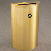Glaro Single Purpose Half Round Recycling Receptacle, 10 Gallon, Available in Multiple Colors, 18''W, 2-1/2''x9-1/2'' slot, No Message, Only Recycling Logo, Satin Brass Finish, Satin Brass Top