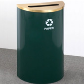 Glaro Single Purpose Half Round Recycling Receptacle, 10 Gallon, Available in Multiple Colors, 18''W, 2-1/2''x9-1/2'' slot, Paper message w/ Recycling Logo, Hunter Green Finish, Satin Brass Top