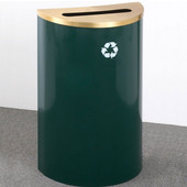 Glaro Single Purpose Half Round Recycling Receptacle, 10 Gallon, Available in Multiple Colors, 18''W, 2-1/2''x9-1/2'' slot, No Message, Only Recycling Logo, Hunter Green Finish, Matching Top, Shown with Satin Brass Top