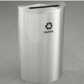 Glaro Single Purpose Half Round Recycling Receptacle, 10 Gallon, Available in Multiple Colors, 18''W, 2-1/2''x9-1/2'' slot, Paper message w/ Recycling Logo, Satin Aluminum Finish, Satin Aluminum Top
