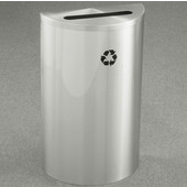 Glaro Single Purpose Half Round Recycling Receptacle, 10 Gallon, Available in Multiple Colors, 18''W, 2-1/2''x9-1/2'' slot, No Message, Only Recycling Logo, Satin Aluminum Finish, Satin Aluminum Top