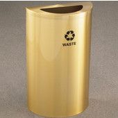 Glaro Single Purpose Half Round Recycling Receptacle, 10 Gallon, Available in Multiple Colors, 18''W, 5-1/2''x12'' opening, Trash message w/ Recycling Logo, Satin Brass Finish, Satin Brass Top