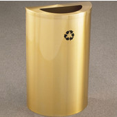 Glaro Single Purpose Half Round Recycling Receptacle, 10 Gallon, Available in Multiple Colors, 18''W, 5-1/2''x12'' opening, No Message, Only Recycling Logo, Satin Brass Finish, Satin Brass Top
