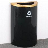 Glaro Single Purpose Half Round Recycling Receptacle, 10 Gallon, Available in Multiple Colors, 18''W, 5-1/2''x12'' opening, Trash message w/ Recycling Logo, Satin Black Finish, Satin Brass Top