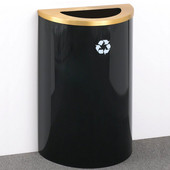 Glaro Single Purpose Half Round Recycling Receptacle, 10 Gallon, Available in Multiple Colors, 18''W, 5-1/2''x12'' opening, No Message, Only Recycling Logo, Satin Black Finish, Matching Top, Shown with Satin Brass Top