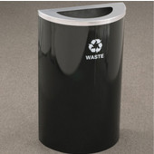 Glaro Single Purpose Half Round Recycling Receptacle, 10 Gallon, Available in Multiple Colors, 18''W, 5-1/2''x12'' opening, Trash message w/ Recycling Logo, Satin Black Finish, Satin Aluminum Top