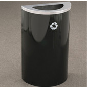 Glaro Single Purpose Half Round Recycling Receptacle, 10 Gallon, Available in Multiple Colors, 18''W, 5-1/2''x12'' opening, No Message, Only Recycling Logo, Satin Black Finish, Satin Aluminum Top