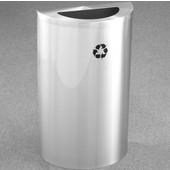 Glaro Single Purpose Half Round Recycling Receptacle, 10 Gallon, Available in Multiple Colors, 18''W, 5-1/2''x12'' opening, No Message, Only Recycling Logo, Satin Aluminum Finish, Satin Aluminum Top