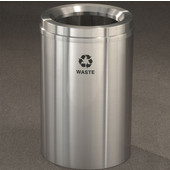 Glaro RecyclePro I Receptacle, 12 Gallon, Available in Multiple Colors, 12''W, 7''Dia. hole, Waste message w/ Recycling Logo, Satin Brass Finish, Satin Brass Top, Shown in Satin Aluminum