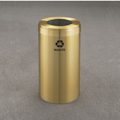 Glaro RecyclePro Value Series Receptacle, 15 Gallon, Available in Multiple Colors, 12''W, 7''Dia. hole, Waste message w/ Recycling Logo, Satin Brass Finish, Satin Brass Top